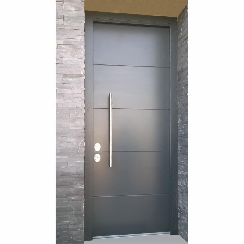 Puertas exteriores de aluminio en aluminio imitacion for Puerta entrada aluminio